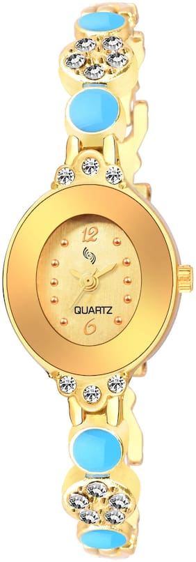 KAJARU BANGLE-907 Gold DIAL BENGAL WATCH FOR WOMEN And Girls