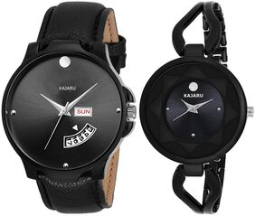 KAJARU DDCOUPLE-2007 BLACK DIAL DAY AND DATE COUPLE WATCH FOR MEN AND WOMEN