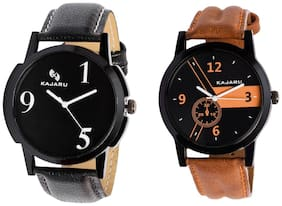 Kajaru KJR-5;4 Round Black Dial Analog Watch Combo for Men