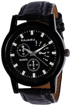 Kajaru KJR-9 Round Dial Black Leather Strap Men Quartz Watch for Men