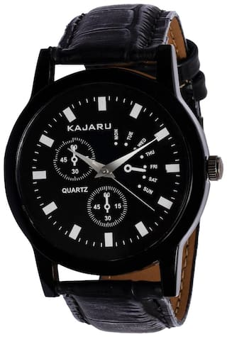 Kajaru KJR-9 Round Dial Black Leather Strap Men Quartz Watch for Men