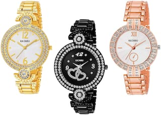 Kajaru L-1054-Girls Exclusive Stone Studded (Casual+PartyWear+Formal) Designer 3 Combo Watch For Girls And Woman