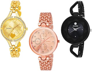 Kajaru L-1063-Girls Gold-Copper-Black Color Attractive (Casual+PartyWear+Formal) Designer Pack Of 3 Watch For Girls And Woman