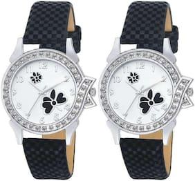 KAJARU L-12-12 Stylish Diamond Studded Black Analog watches combo set For Girls And Women