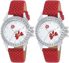 KAJARU L-13-13 Stylish Diamond Studded Red Analog watches combo set For Girls And Women