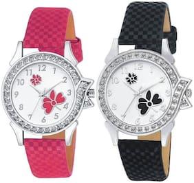 KAJARU L-14-12 Stylish Diamond Studded Pink & Black Analog watches combo set For Girls And Women
