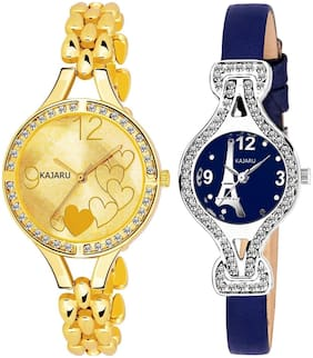 Kajaru L-2112-Girls Multu Color (Casual+PartyWear+Formal) Designer 2 Combo Watch For Girls And Woman