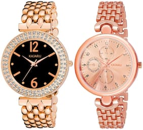 Kajaru L-2110-Girls Copper Color (Casual+PartyWear+Formal) Designer 2 Combo Watch For Girls And Woman