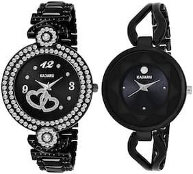 Kajaru L-2116-Girls Black Dial (Casual+PartyWear+Formal) Designer 2 Combo Watch For Girls And Woman