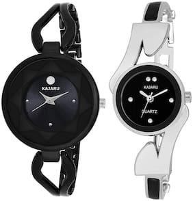 Kajaru L-2119-Girls Black Dial (Casual+PartyWear+Formal) Designer 2 Combo Watch For Girls And Woman