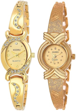 Kajaru L-2128-Girls Gold Dial (Casual+PartyWear+Formal) Designer 2 Combo Watch For Girls And Woman