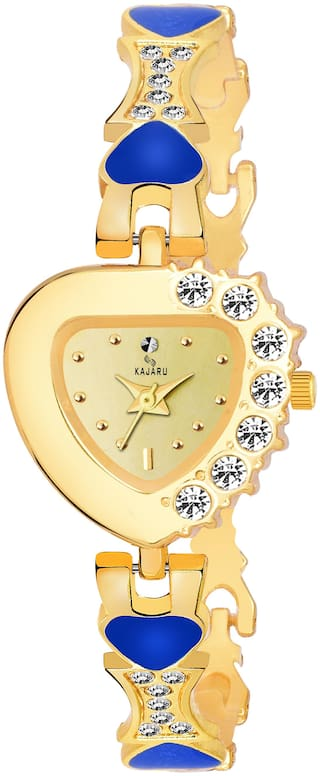 Kajaru Ladies-965 Gold Dial Heart ShapeTrendy New Arrival Watch Analog Watch For Women And Girls