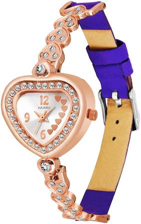 KAJARU LADIES-816 ROSEGOLD DIAL NEW ARRIVAL HEART SHAPE ANALOG HALF BELT WATCH FOR GIRLS AND WOMEN