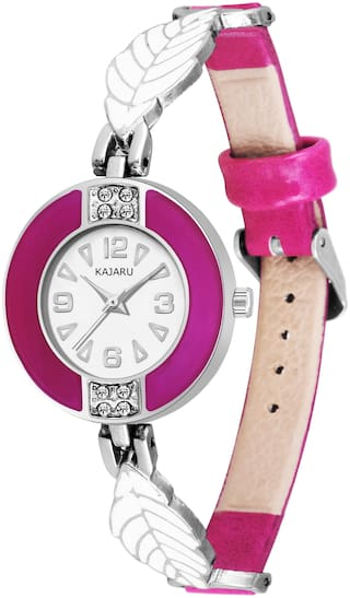KAJARU LADIES-819 WHITE DIAL NEW ARRIVAL ROUND SHAPE ANALOG HALF BELT WATCH FOR GIRLS AND WOMEN