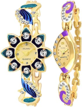 KAJARU LADIES_23_4 Gold Two Tone Bangle Types Oval Dial Watch For Women And Girls