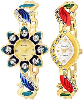 KAJARU LADIES_23_6 Gold Two Tone Bangle Types Oval Dial Watch For Women And Girls
