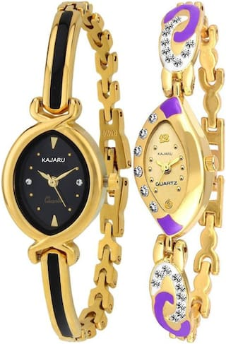 KAJARU LADIES_701_4 Gold Two Tone Bangle Types Oval Dial Watch For Women And Girls