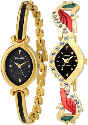 KAJARU LADIES_701_5 Gold Two Tone Bangle Types Oval Dial Watch For Women And Girls