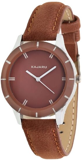 Kajaru Ledis-1 Attractive And Beautiful Brown Simple Strap Analog watch for Women And Girls