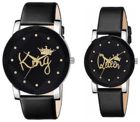 KIARVI GALLARY king queen couple leather belt analog watch for men and woman