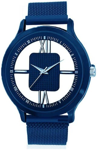 KIARVI GALLERY Blue Round Transference Dial magnet strap New Fashion Men Analog Watch