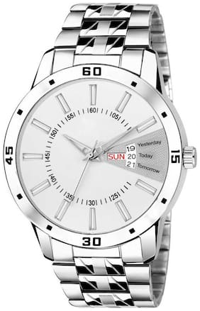 KIARVI GALLERY New Professional Collection-3031 White Dial Watch With Metal Strap Day and Date Watch