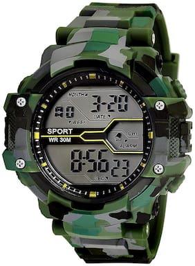 KIARVI GALLERY Multi-Functional digital army design sport light watch for Boys