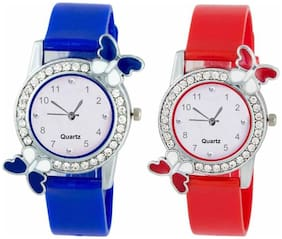 KIARVI GALLERY New Stylish And Designer Blue and Red strap and Diamond Dial combo