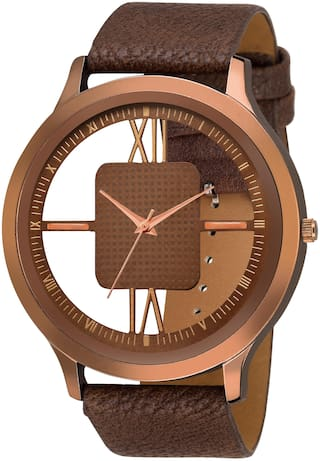 KIARVI GALLERY Transference Brown Open Dial  Leather Strep Watch For Men