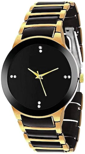 KIARVI Gallery New Fully Stylish Black Dial Watch With Standard Black And Golden metal Belt
