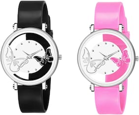 KIARVI GALLERY NEW STYLISH BLACK &  PINK  OPEN DIAL BUTTERFLY WATCH FOR GIRL AND WOMEN