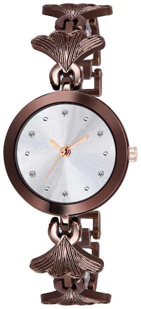 Kiarvi Gallery New Fashion Stylish Designer Brown Color Dial With Diamond Attractive Look For Girl Analog Watch