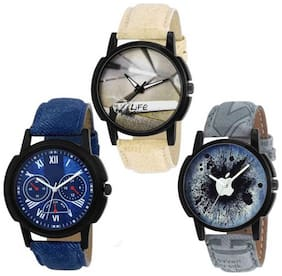 KIARVI GALLERY New stylish 3 watch combo of blue dial , life dial , apple dial