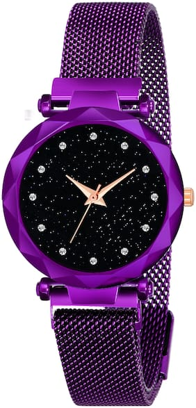 Kiarvi Gallery Luxury Mesh Magnet Buckle Starry Sky Quartz Watches For Girls