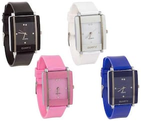 KIARVI GALLERY SQUARE DIAL BLUE BLACK WHITE AND PINK  4  COMBO WATCH FOR GIRLS AND WOMEN Watch