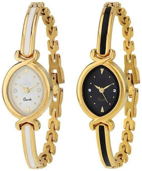KIARVI GALLERY  Latest Fashionable Black And White Dial Watch Combo - Women
