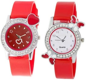 KIARVI GALLERY Dream Fashion Red Love Butterfly Stylish Analog Watch for Women and Gilrs