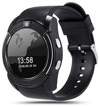 Kirru V8 Bluetooth Smartwatch Compatible with All Android Devices with Camera SIM Card Slot & Pedometer Display Touch Screen