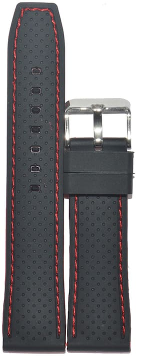 Kolet 22mm Dotted Red Stitched Silicone Watch Strap (Black)
