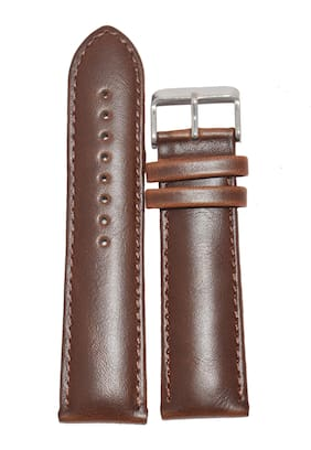 Kolet 22mm Padded Plain Leather Watch Strap (Brown)