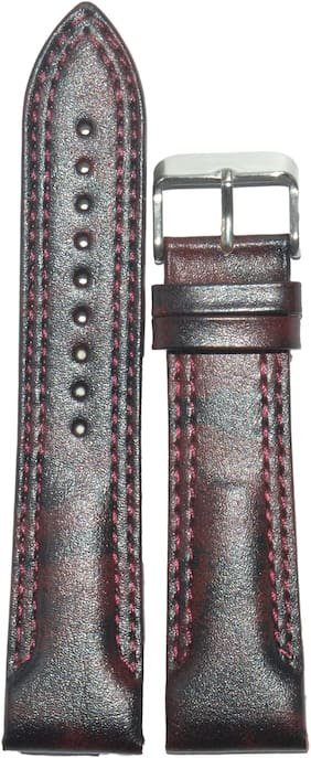 Kolet 24mm Leather Half Padded Double Stitched Watch Strap (Dark Marron)