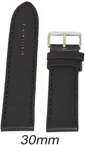 Kolet 30 mm Leather Plain Matte Finish Watch Strap (Black)