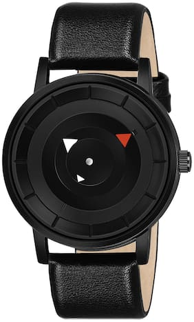 Krishtal Trading Black Leather Watch For Men