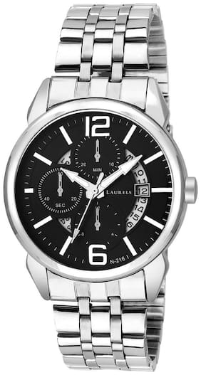 850a22cbf6f41 Laurels Black Color Date Analog Men's Watch With Metal Chain: LWM-AST-VI