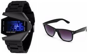 LECOZT Black Triangle Digital Watch ( Get Freebie Black Wayfarer sunglasses )