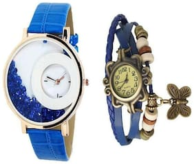 LECOZT Blue Leather Analog Watch for Women - Set of 2