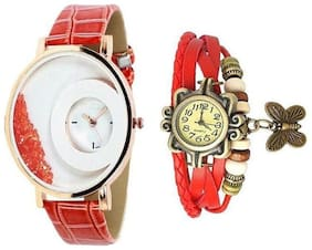 LECOZT Red Leather Analog Watch for Women - Set of 2