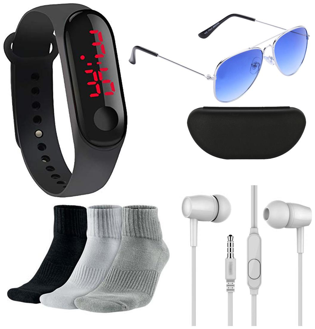LED Digital Watch with Free Sunglasses + 3 Pair Sports Socks +...