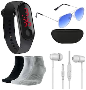 LED Digital Watch with Free Sunglasses + 3 Pair Sports Socks + Ear Phone