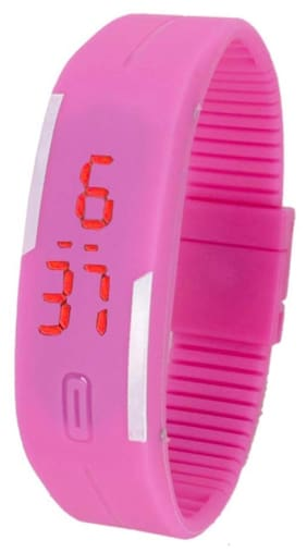 Led Digital Pink Women Rubber Watches(Pack of 10)